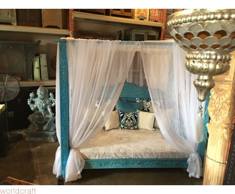 Lotus Canopy Day Bed, Blue Finish, Full Size. Made to Order