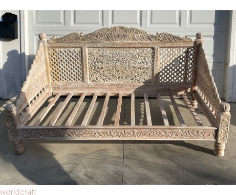 Carved Lotus Day Bed, Cream Finish. Made to Order