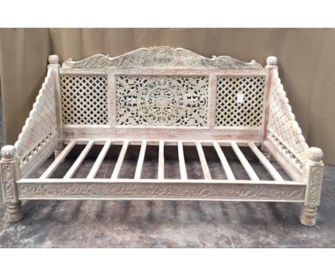 Carved Lotus Day Bed, Cream Finish