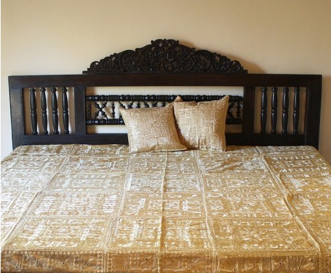 Indian Mirrorwork Bedspread, Camel