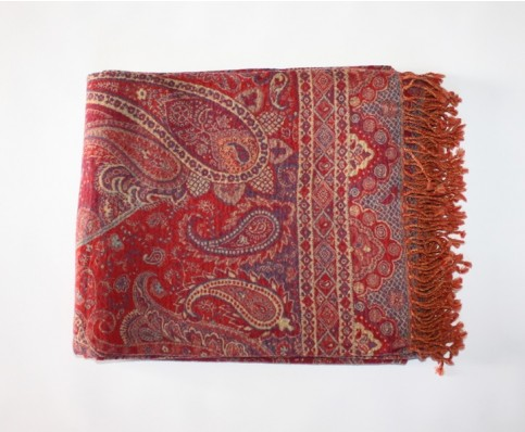 Pashmina Wool Throw, Red and Blue