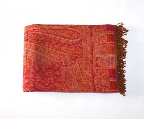 Pashmina Wool Throw, Orange