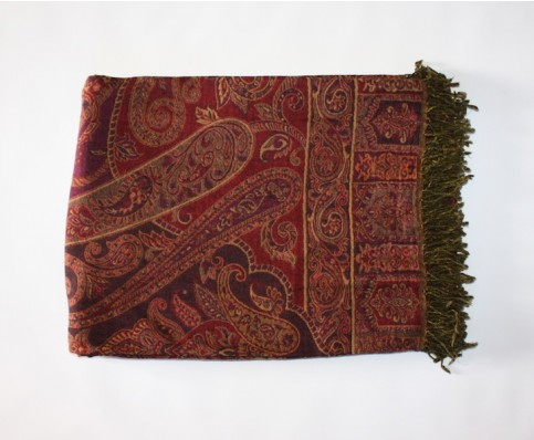 Pashmina Wool Throw, Burgundy