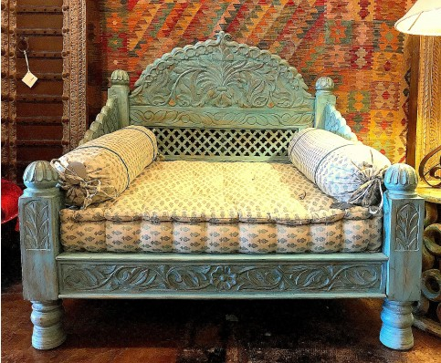 Carved Jhula Seat, Blue Antique Finish