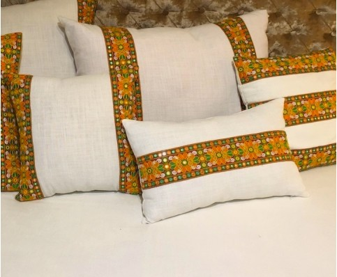 White Linen Embroidered Pillow Covers