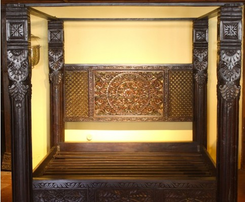 Lotus Pillar Canopy Bed, Made to Order