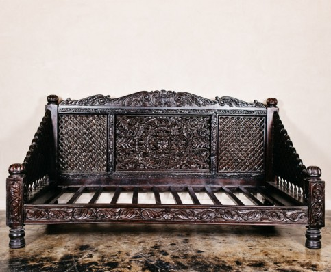 """Hand Carved Lotus Day Bed, Dark Finish, 88x46x36"""""""