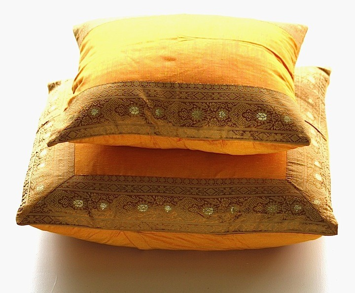 Indian Style Decorative Pillow Covers In Silk Pashmina Wool Sari Fascinating Indian Silk Decorative Pillows