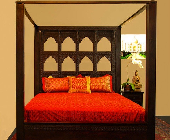 Devi Canopy Bed Carved Multi Arch Headboard Rosewood