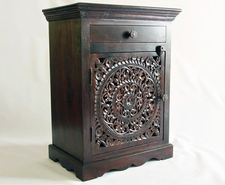 Lotus Mandala Hand Carved Nightstand