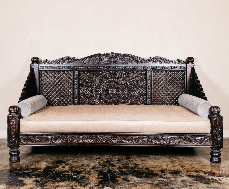 Hand Carved Bed: Hand Carved Lotus Daybed, Dark Finish, 88x46x36