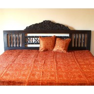 Indian Mirrorwork Bedspread, Rust