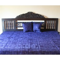 Indian Mirror and Patchwork Bedspread, Blue