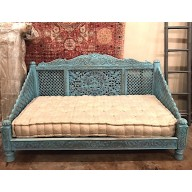 Carved Lotus Day Bed, Blue Finish