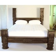 Hand Carved Mahogany Panel Pillar Bed