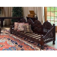"""Carved Jhula Arch Triple Sofa, 96"""", Inner Size 90x30"""""""
