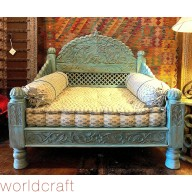 Carved Jhula Seat, Blue Antique Finish. Made to Order