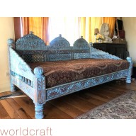 Carved Jhula Day Bed, Blue Percentage Finish