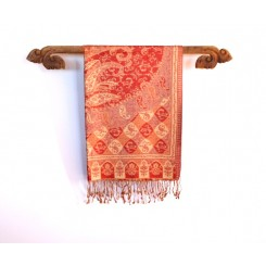 Silk Pashmina Shawls, Red and Mauve