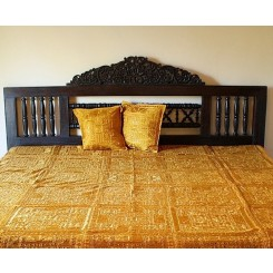 Indian Mirrorwork Bedspread, Gold