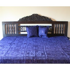 Indian Mirrorwork Bedspread, Royal Blue