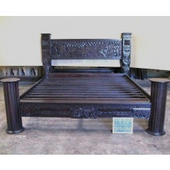 Tribal Carved Pillar Bed