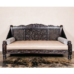 Hand Carved Lotus Day Bed, Dark Finish, 88x46x36""