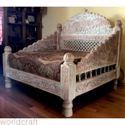 Carved Jhula Love Seat, Cream Finish.