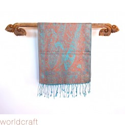 Silk Pashmina Pasiley Wrap, Turquoise and Salmon