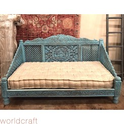 Carved Lotus Day Bed, Blue Finish. Made to Order