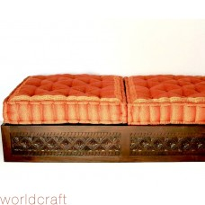 Diamond Carved Wooden Ottoman, Double