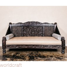 Hand Carved Lotus Daybed