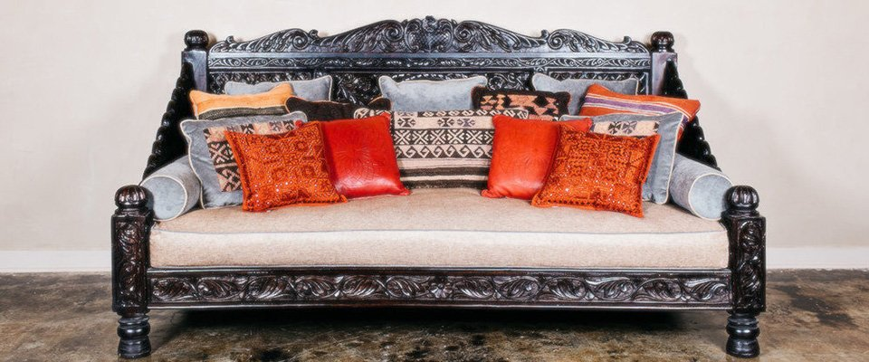 Carved Lotus Day Bed